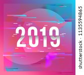 happy new year 2019 text design.... | Shutterstock .eps vector #1135594865