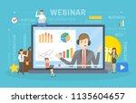 webinar concept. idea of online ... | Shutterstock .eps vector #1135604657