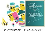 back to school poster template... | Shutterstock .eps vector #1135607294