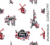 pattern with triumphal arch ... | Shutterstock .eps vector #1135617797