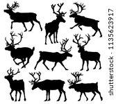 reindeer silhouette set. vector ... | Shutterstock .eps vector #1135623917