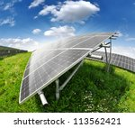 Solar Energy Panels Against...