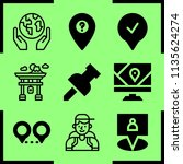 simple 9 icon set of map... | Shutterstock .eps vector #1135624274