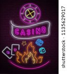 colorful neon luminous casino... | Shutterstock .eps vector #1135629017