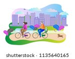 city family concept outdoors... | Shutterstock .eps vector #1135640165