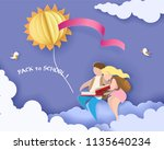 back to school 1 september card ... | Shutterstock .eps vector #1135640234