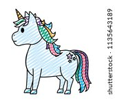 doodle cute unicorn with stars... | Shutterstock .eps vector #1135643189