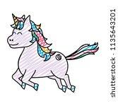 doodle cute unicorn with arrow... | Shutterstock .eps vector #1135643201