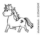 grunge cute unicorn with stars... | Shutterstock .eps vector #1135643249