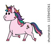 color cute unicorn with stars... | Shutterstock .eps vector #1135643261