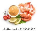 boiled prawns and salsa sauce... | Shutterstock . vector #1135645517