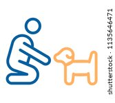 person with small dog or puppy... | Shutterstock .eps vector #1135646471