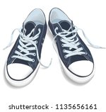 sneakers top view. sport shoes... | Shutterstock .eps vector #1135656161