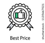 paper badge having a thumbs up ... | Shutterstock .eps vector #1135667021