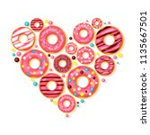 donut heart. pink donuts with...   Shutterstock .eps vector #1135667501