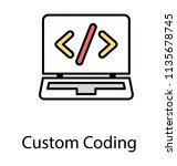 a html source code on laptop... | Shutterstock .eps vector #1135678745