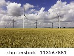 wind farm in a wheat field and... | Shutterstock . vector #113567881
