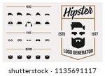 vector hipster logo generator.... | Shutterstock .eps vector #1135691117