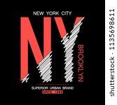 ny  brooklyn modern typography... | Shutterstock .eps vector #1135698611