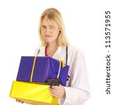 Medical doctor with gifts and a gun - stock photo