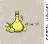 olive oil bottle and green...   Shutterstock .eps vector #1135723391