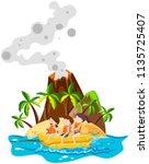 children playing banana boat... | Shutterstock .eps vector #1135725407