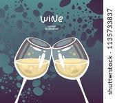 glasses of white wine on...   Shutterstock .eps vector #1135733837