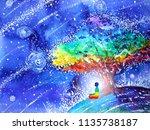 7 color chakra human lotus pose ... | Shutterstock . vector #1135738187