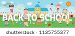 education on back to school... | Shutterstock .eps vector #1135755377