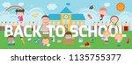 education on back to school... | Shutterstock .eps vector #1135755377