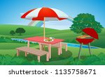 picnic and bbq in the garden | Shutterstock .eps vector #1135758671