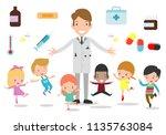 doctor and kids. doctor...   Shutterstock .eps vector #1135763084