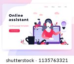 concept customer and operator ... | Shutterstock .eps vector #1135763321