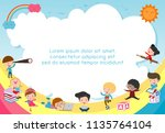 back to school  kids school ... | Shutterstock .eps vector #1135764104