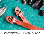 genuine vegetble tanned leather ... | Shutterstock . vector #1135766645