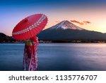asian woman wearing japanese... | Shutterstock . vector #1135776707