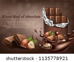 vector 3d realistic chocolate... | Shutterstock .eps vector #1135778921