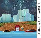 flash flood in big city... | Shutterstock .eps vector #1135781354