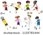 a set of football players... | Shutterstock .eps vector #1135781444