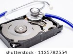close up computer hard disk and ... | Shutterstock . vector #1135782554