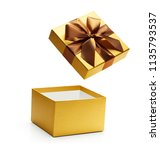 Gold Open Gift Box Isolated On...