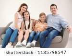 happy family with cute children ... | Shutterstock . vector #1135798547