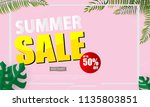 summer sale banner vector... | Shutterstock .eps vector #1135803851