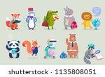back to school animals hand... | Shutterstock .eps vector #1135808051