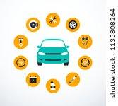 concept of car service. set of... | Shutterstock .eps vector #1135808264