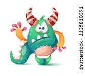 funny  cute cartoon monster ... | Shutterstock .eps vector #1135810391