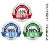 three risk free badges with... | Shutterstock .eps vector #1135812431