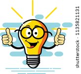 bulb character two thumbs style ... | Shutterstock .eps vector #1135821131