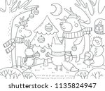 merry christmas coloring page | Shutterstock .eps vector #1135824947