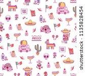 mexican symbols vector seamless ... | Shutterstock .eps vector #1135828454